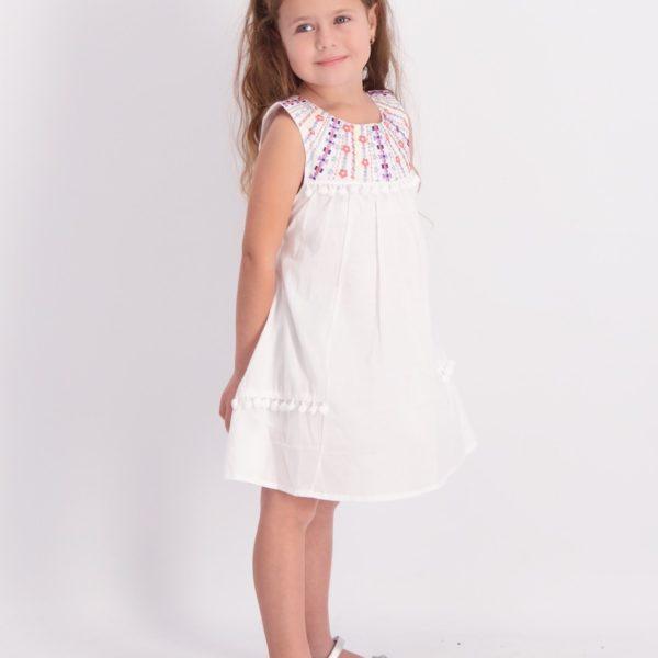 שמלת אלמה רקומה לבנה