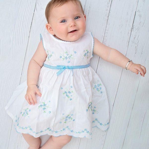 שמלה לבנה רקומה-2881