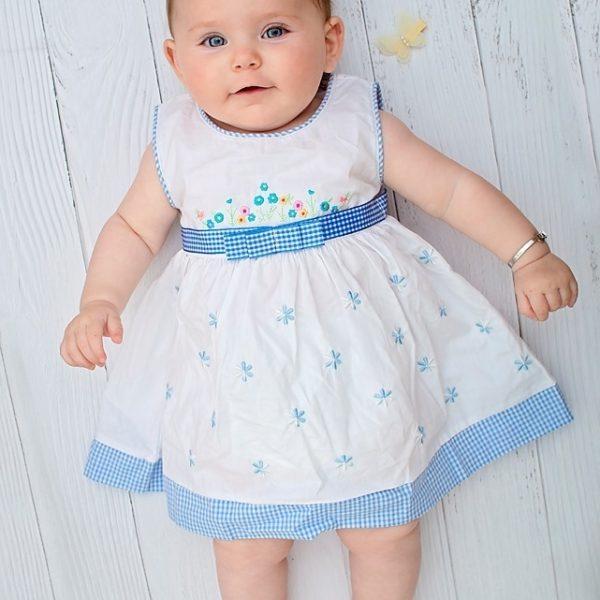 שמלה כחולה רקומה משבצות-2892