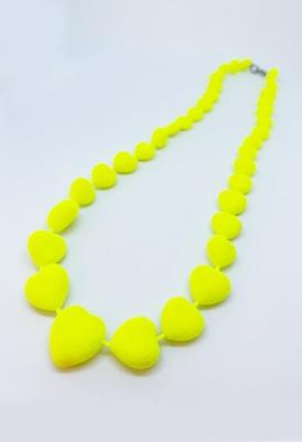 שרשרת לבבות צהוב זוהר -0