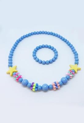 סט שרשרת וצמיד כחול-0