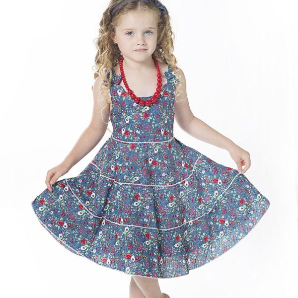 שמלת ליבי פרחים כחולים-2617