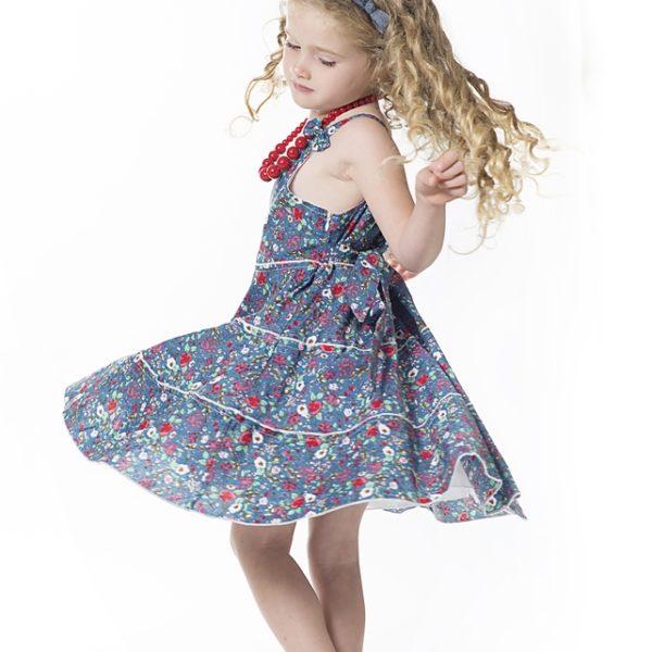שמלת ליבי פרחים כחולים-2618