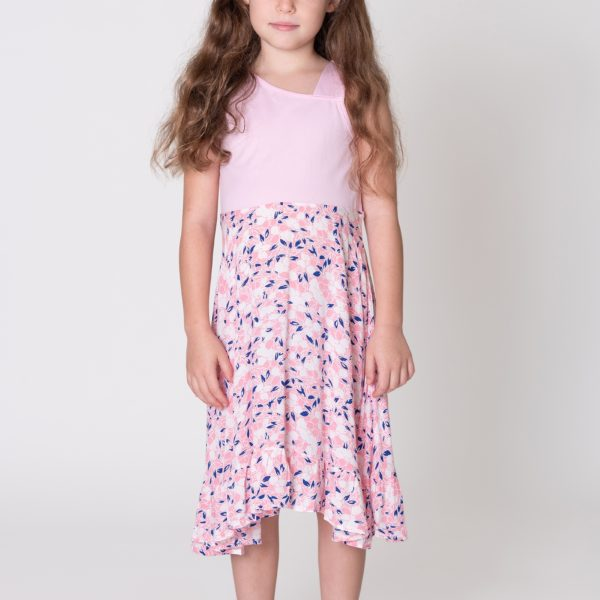 שמלת כתפיה ורודה-0