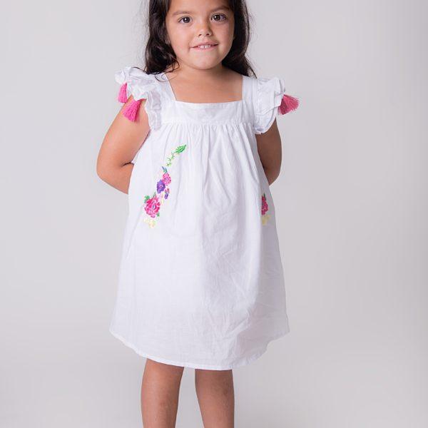 שמלת סופי רקומה לבנה-0