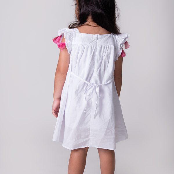 שמלת סופי רקומה לבנה-3166