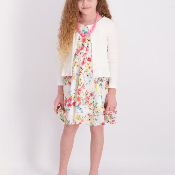 שמלת לירי פרחונית לבנה