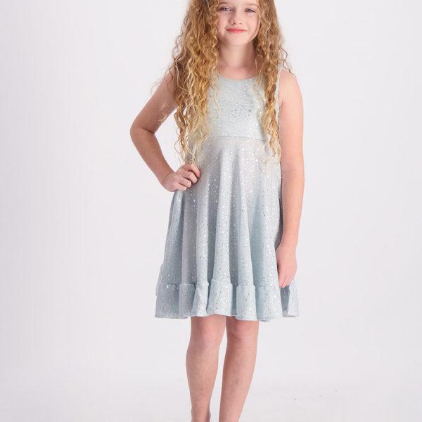 שמלת אמה תכלת מנצנצת