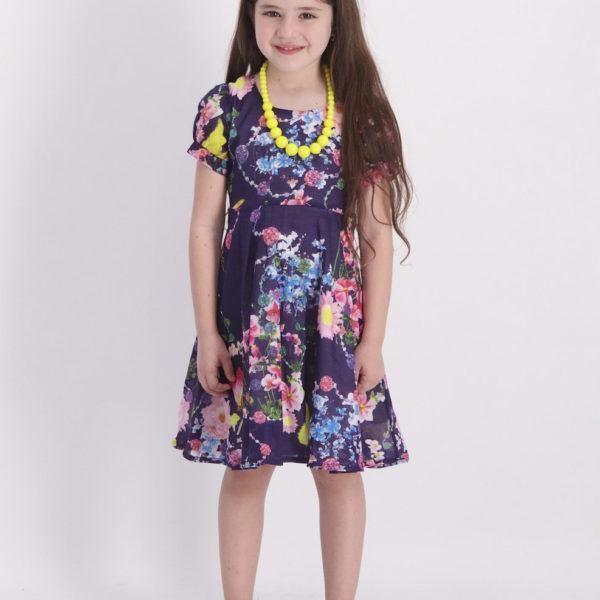 שמלת אלין פרחונית כחולה