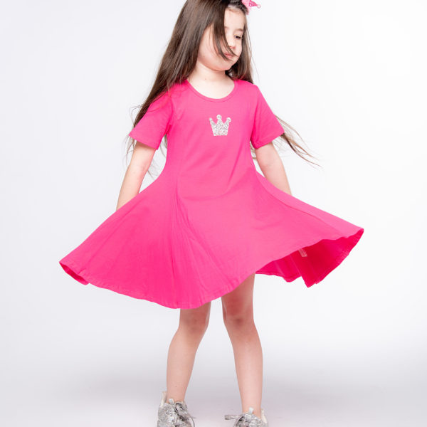 שמלת מיכל פוקסיה כתר כסוף