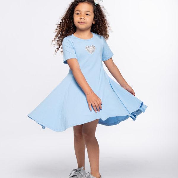שמלת מיכל כחולה לב כסף