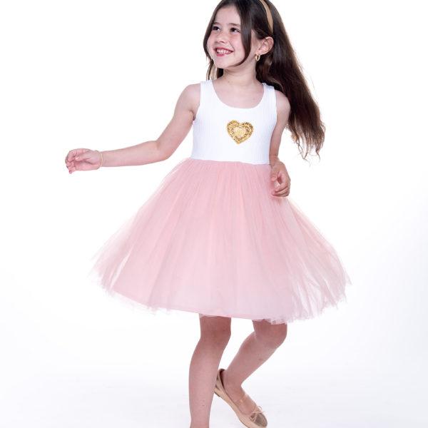 שמלת טול לב זהב