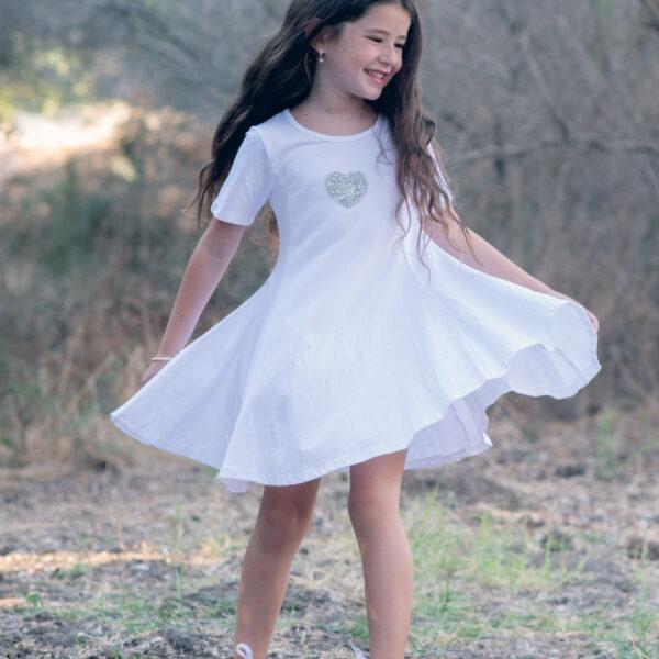 שמלת מיכל לבנה לב כסף