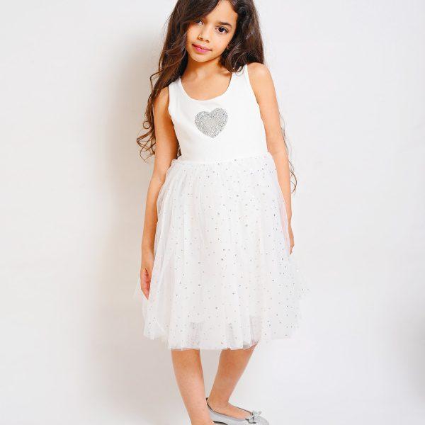 שמלת טול לבבות מנצנצת