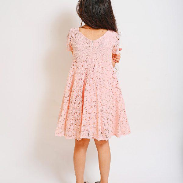 שמלת יעלי תחרה ורודה