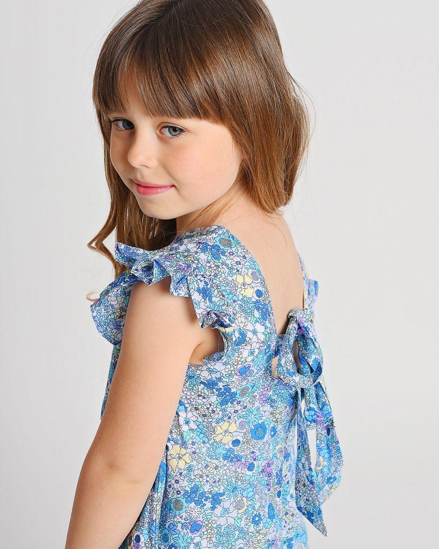 שמלת נוגה פרחונית כחולה