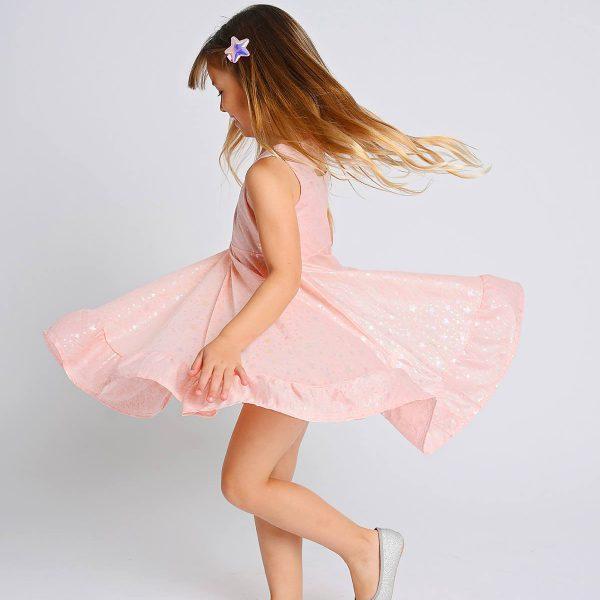 שמלת איה ורודה מנצנצת